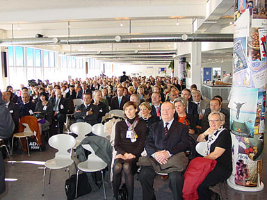 A view of the audience in the large hall of the Copenhagen Hotel School.