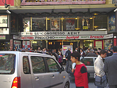 Conference participants arrive from all directions in front of the Ariston Theatre where the opening ceremony takes place.