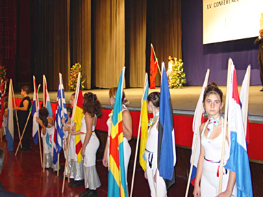 Each country's flags are placed on the stage.