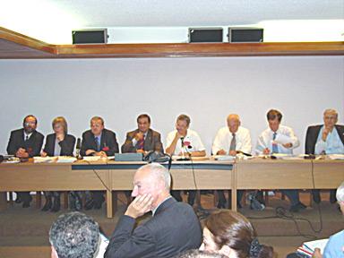 On the platform, members of the AEHT Managing Committee.